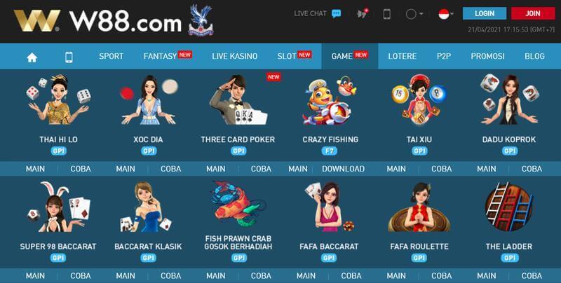 Macam-Macam Permainan yang Ada di Judi Online W88